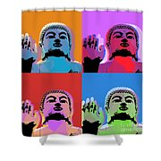 Buddha Pop Art - 4 Panels Shower Curtain by Jean luc Comperat