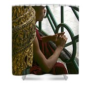 Buddhist Monk Leaning Against A Pillar Sule Pagoda Central Yangon Myanar Shower Curtain by Ralph A  Ledergerber-Photography
