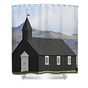 Budir Church Stadarsveit, Snaefellsnes Shower Curtain by Michael Thornton