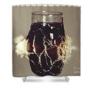 Bullet Piercing Glass Of Soda Shower Curtain by Gary S. Settles