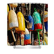 Buoys From Russell's Lobsters Shower Curtain by Lois Bryan