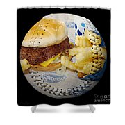 Burger And Fries Baseball Square Shower Curtain by Andee Design