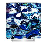 Bursts Of Blue And White - Abstract Art Shower Curtain by Carol Groenen