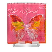 Butterfly Art - P11aig13a_ Art Is Good Shower Curtain by Variance Collections