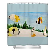 Butterfly Fish Shower Curtain by Savanna Paine