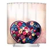 Button Love Shower Curtain by Jan Bickerton