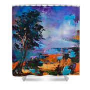 By The Canyon Shower Curtain by Elise Palmigiani
