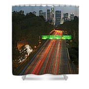 Ca 110 Pasadena Freeway Downtown Los Angeles At Night With Car Lights Streaking_2 Shower Curtain by David Zanzinger