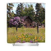 Cabin And Wildflowers Shower Curtain by Athena Mckinzie