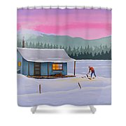 Cabin On A Frozen Lake Shower Curtain by Gary Giacomelli