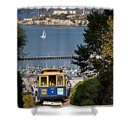Cable Car In San Francisco Shower Curtain by Brian Jannsen
