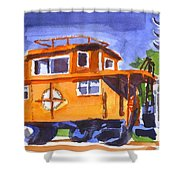 Caboose With Silver Signal Shower Curtain by Kip DeVore