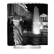 Caesars Fountain Bw Shower Curtain by Jenny Hudson