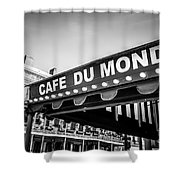 Cafe Du Monde Black and White Picture Shower Curtain by Paul Velgos