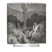 Cain And Abel Offering Their Sacrifices Shower Curtain by Gustave Dore