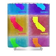 California Pop Art Map 2 Shower Curtain by Naxart Studio