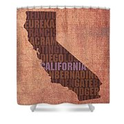 California Word Art State Map On Canvas Shower Curtain by Design Turnpike