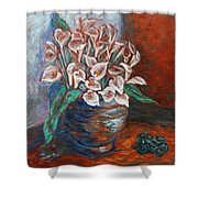 Calla Lilies and Frog Shower Curtain by Xueling Zou