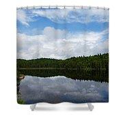 Calm Lake - Turbulent Sky Shower Curtain by Georgia Mizuleva