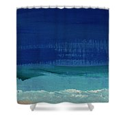 Calm Waters- Abstract Landscape Painting Shower Curtain by Linda Woods