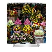 Cambodia Flower Seller Shower Curtain by Mark Llewellyn