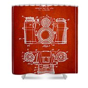 Camera Patent Drawing From 1962 Shower Curtain by Aged Pixel