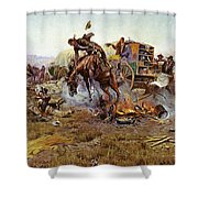 Camp Cooks Trouble Shower Curtain by Charles Russell