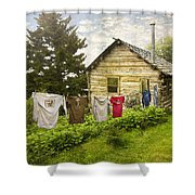 Camp Leconte Shower Curtain by Debra and Dave Vanderlaan