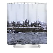 Canada Island And Spokane River Shower Curtain by Daniel Hagerman