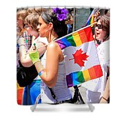 Canadian Rainbow Shower Curtain by Valentino Visentini