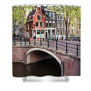 Canal Bridge and Houses in Amsterdam Shower Curtain by Artur Bogacki