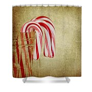 Candy Canes Shower Curtain by Kim Hojnacki