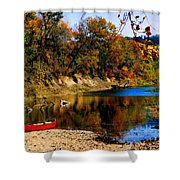 Canoe On The Gasconade River Shower Curtain by Steve Karol