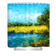 Canola Fields Impressionist Landscape Painting Shower Curtain by Michelle Wrighton