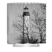Cape May Light B/w Shower Curtain by Jennifer Lyon
