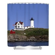 Cape Neddick Light Station In Maine Shower Curtain by Mountain Dreams
