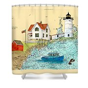 Cape Neddick Lighthouse Me Nautical Chart Map Art Cathy Peek Shower Curtain by Cathy Peek