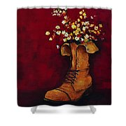 Cargo Boot Series Unusual Flower Pot Shower Curtain by Patricia Awapara