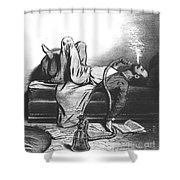 Caricature Of The Romantic Writer Searching His Inspiration In The Hashish Shower Curtain by French School