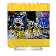 Carnival Clowns Shower Curtain by Kaye Menner