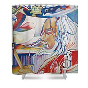 Carter Beauford Colorful Full Band Series Shower Curtain by Joshua Morton