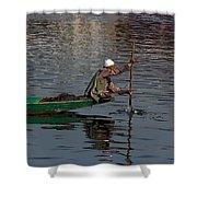 Cartoon - Man Plying A Wooden Boat On The Dal Lake Shower Curtain by Ashish Agarwal