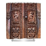 Carved Wooden Door At Bhaktapur In Nepal Shower Curtain by Robert Preston