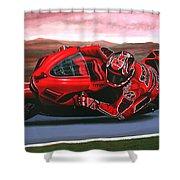 Casey Stoner on Ducati Shower Curtain by Paul Meijering