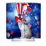 Cat In Patriotic Hat Shower Curtain by Carol Cavalaris