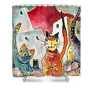 Cat Town In Lanzarote Shower Curtain by Miki De Goodaboom