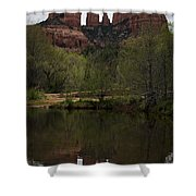 Cathedral Rock and Reflection Shower Curtain by Dave Gordon