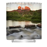 Cathedral Rock At Red Rock Shower Curtain by Peter Carroll