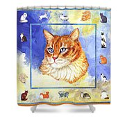 Cats Purrfection Five - Orange Tabby Shower Curtain by Linda Mears