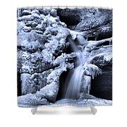 Cedar Falls In Winter Shower Curtain by Dan Sproul